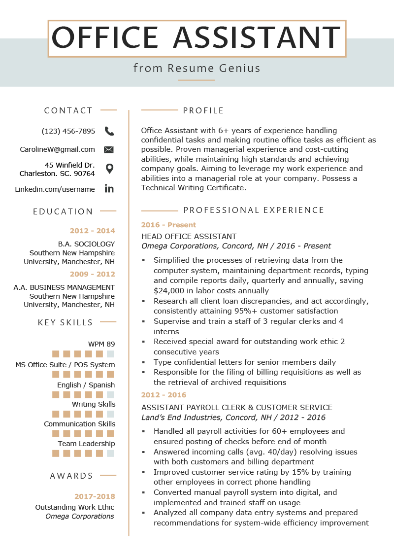 Office Resume Template Office Assistant Resume Example Writing Tips Resume Genius