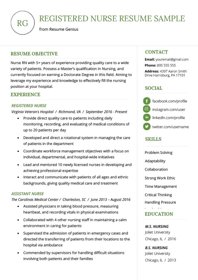 Nursing Resume Sample Writing Guide