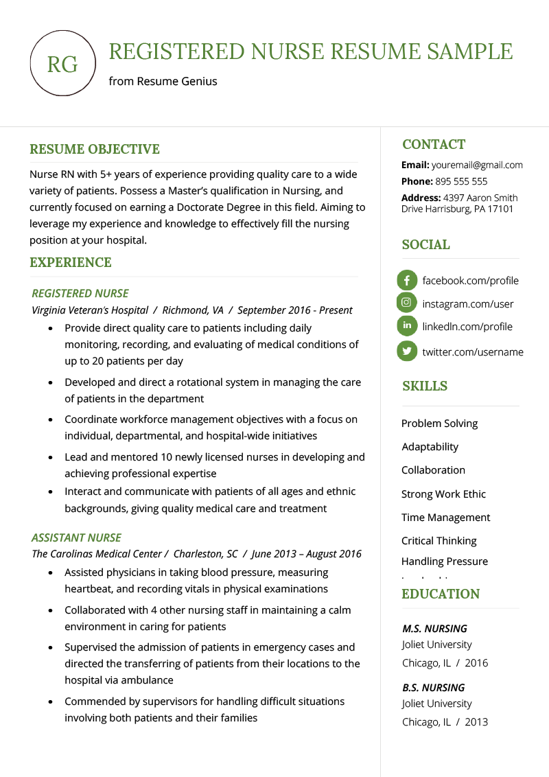 Resume Blank Format Nursing Resume Sample Writing Guide Resume Genius