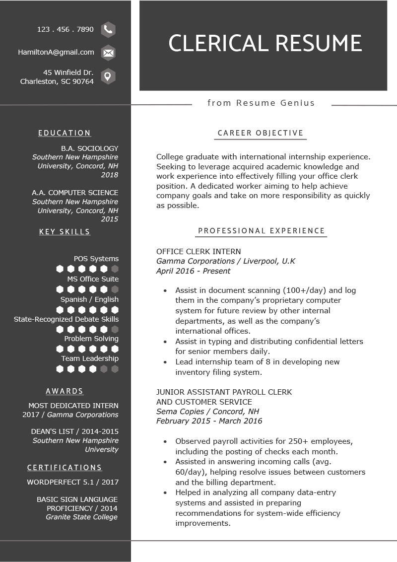 Er Registration Clerk Cover Letter Clerical Worker Resume Example Writing Tips Resume Genius