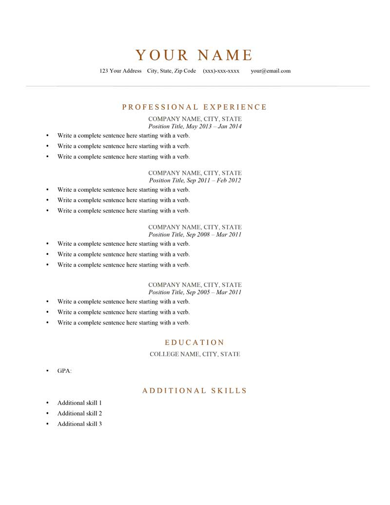 Resume Examples For Free Model Resume Examples Villa Chems