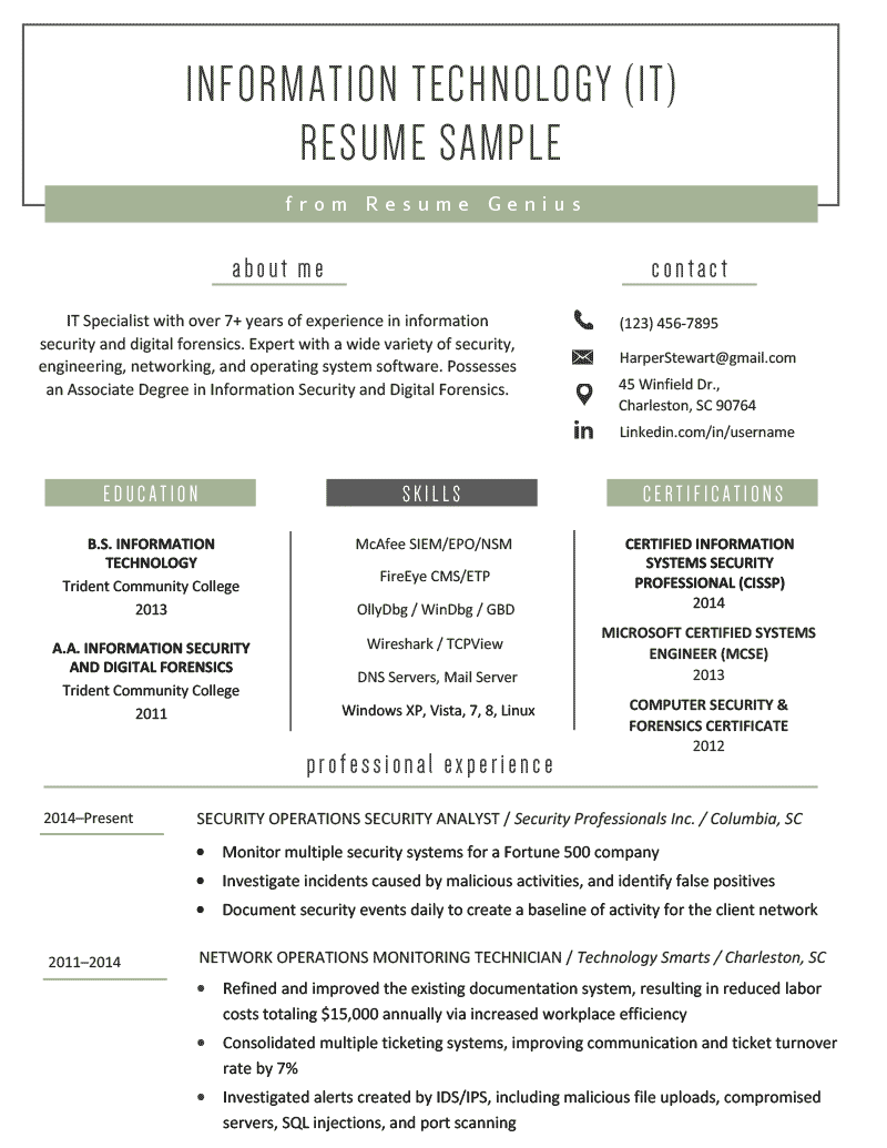 best resume template for security