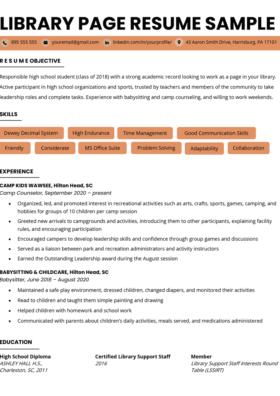 Librarian Resume Sample & Writing Guide RG