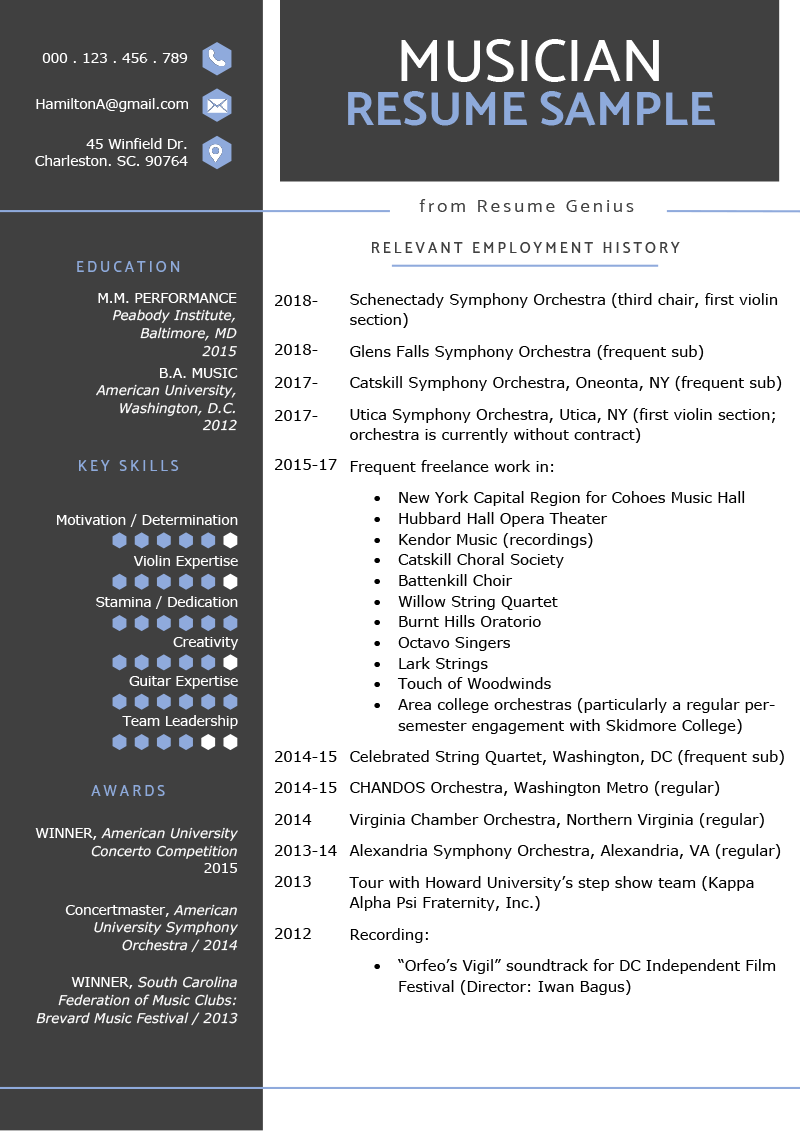 Music Resume Sample  Writing Tips  Resume Genius