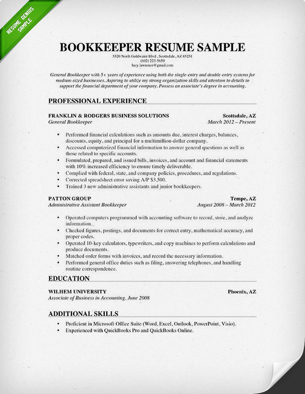 Bookkeeper Resume Sample & Guide Resume Genius