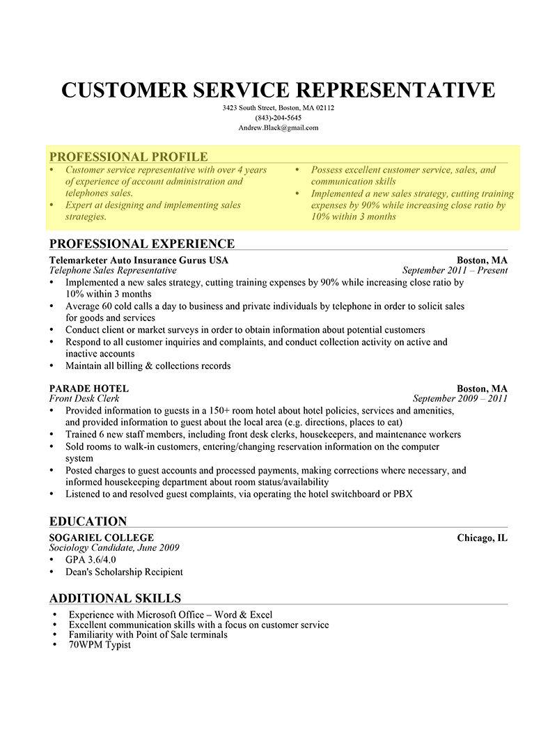 Resume Profile In Bullet Form