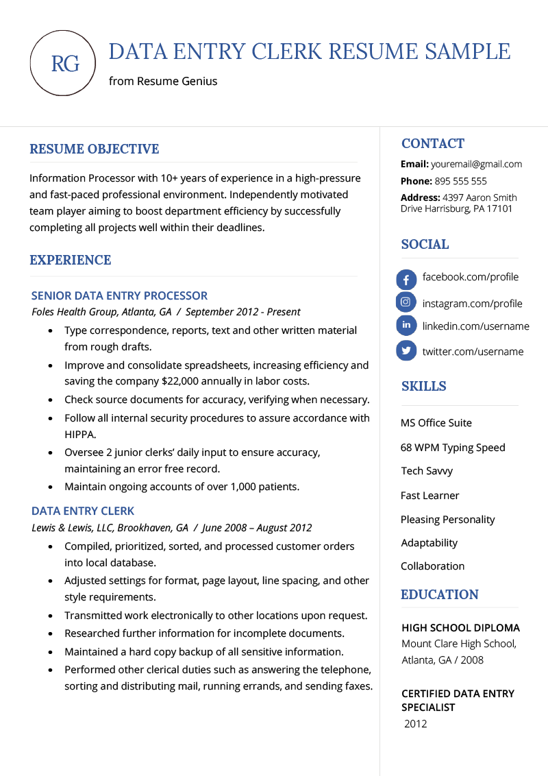 typing skills resume sample