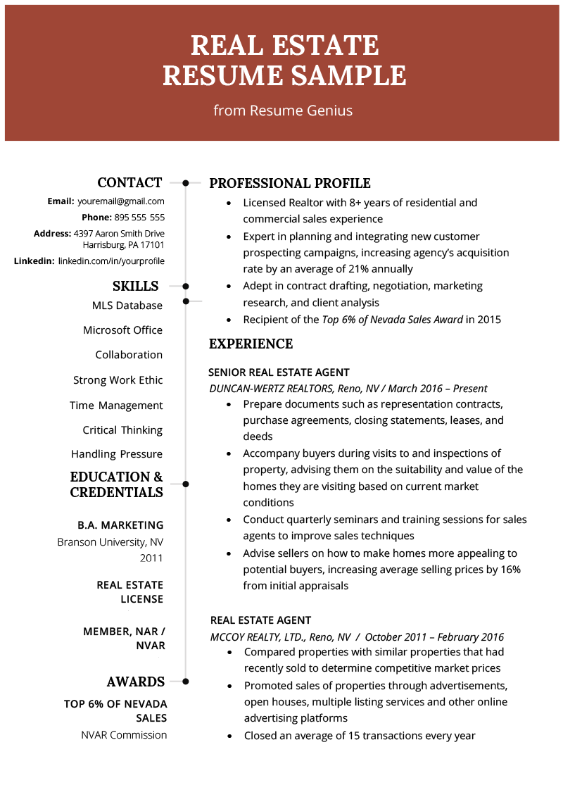 professional resume sample for real estate sales