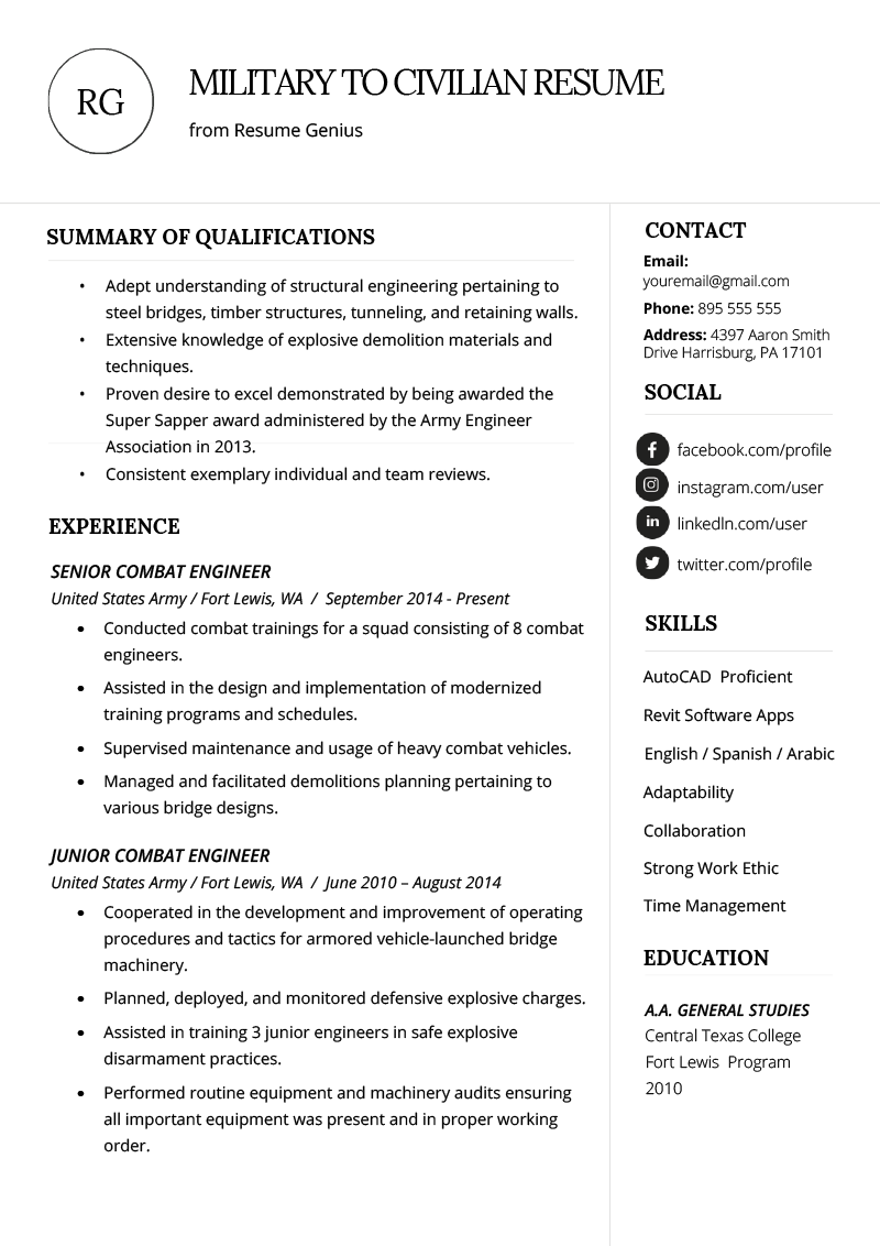 How To Add Military Experience To A Resume How To Write A Military To Civilian Resume Resume Genius