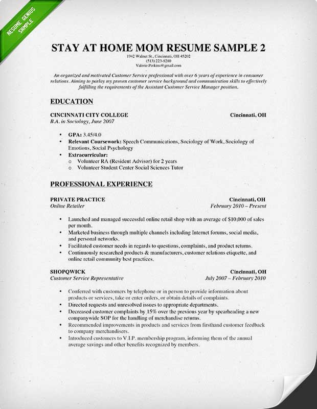 Resume Examples For Stay At Home Moms - Examples of Resumes