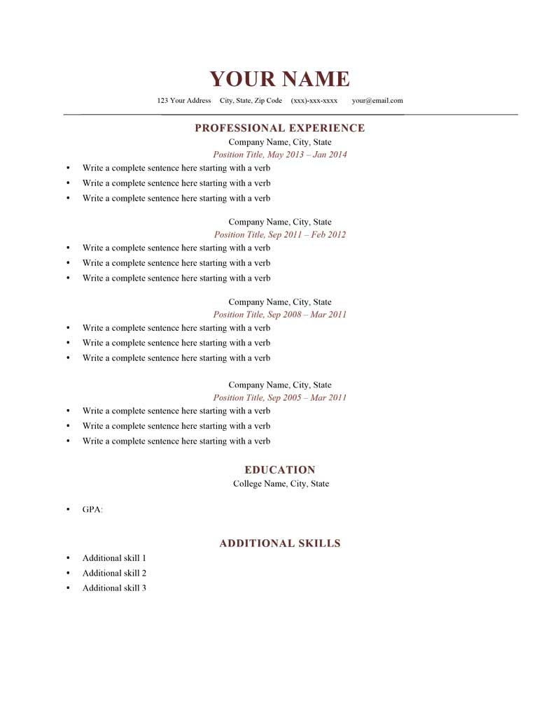 Free Resume Samples U0026 Writing Guides For All  Free Resume Outlines