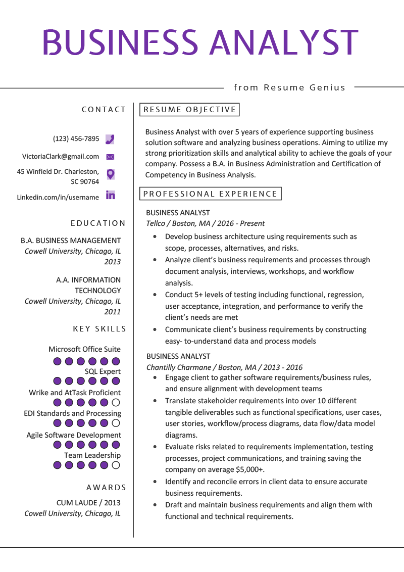 Business Management Resume Examples Business Analyst Resume Example Writing Guide Resume Genius