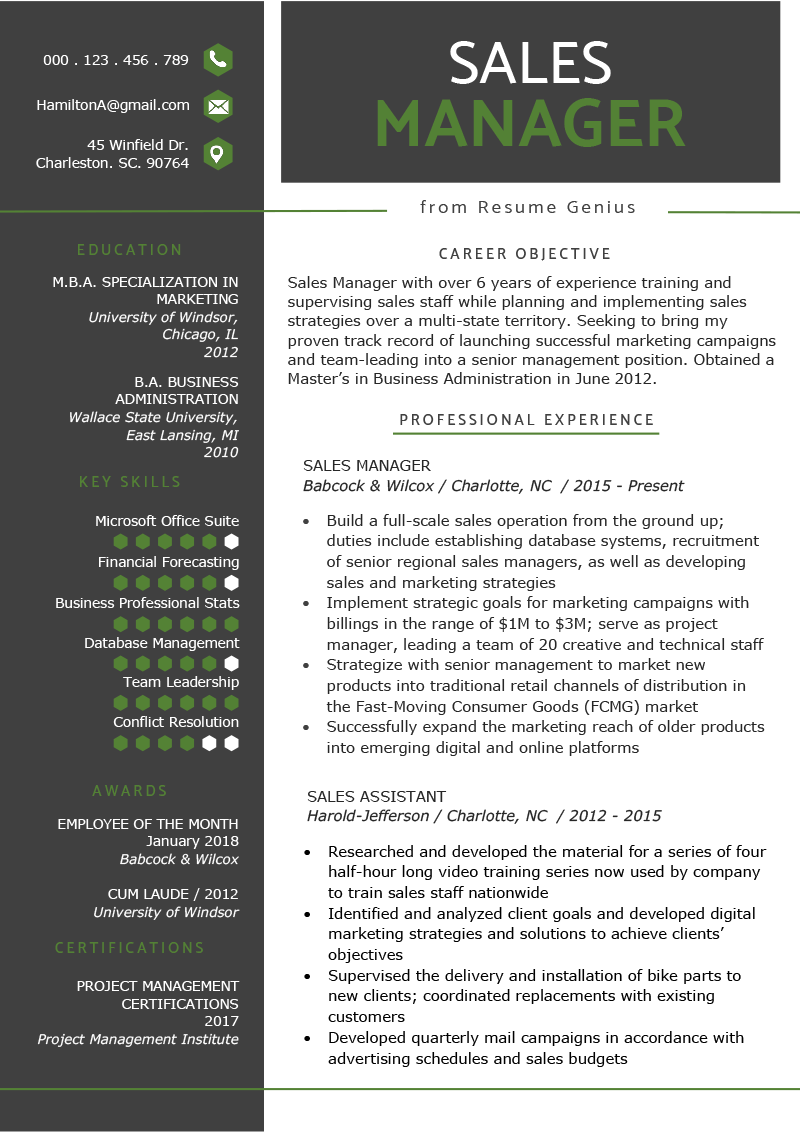 Sales Manager Resume Sample & Writing Tips Resume Genius