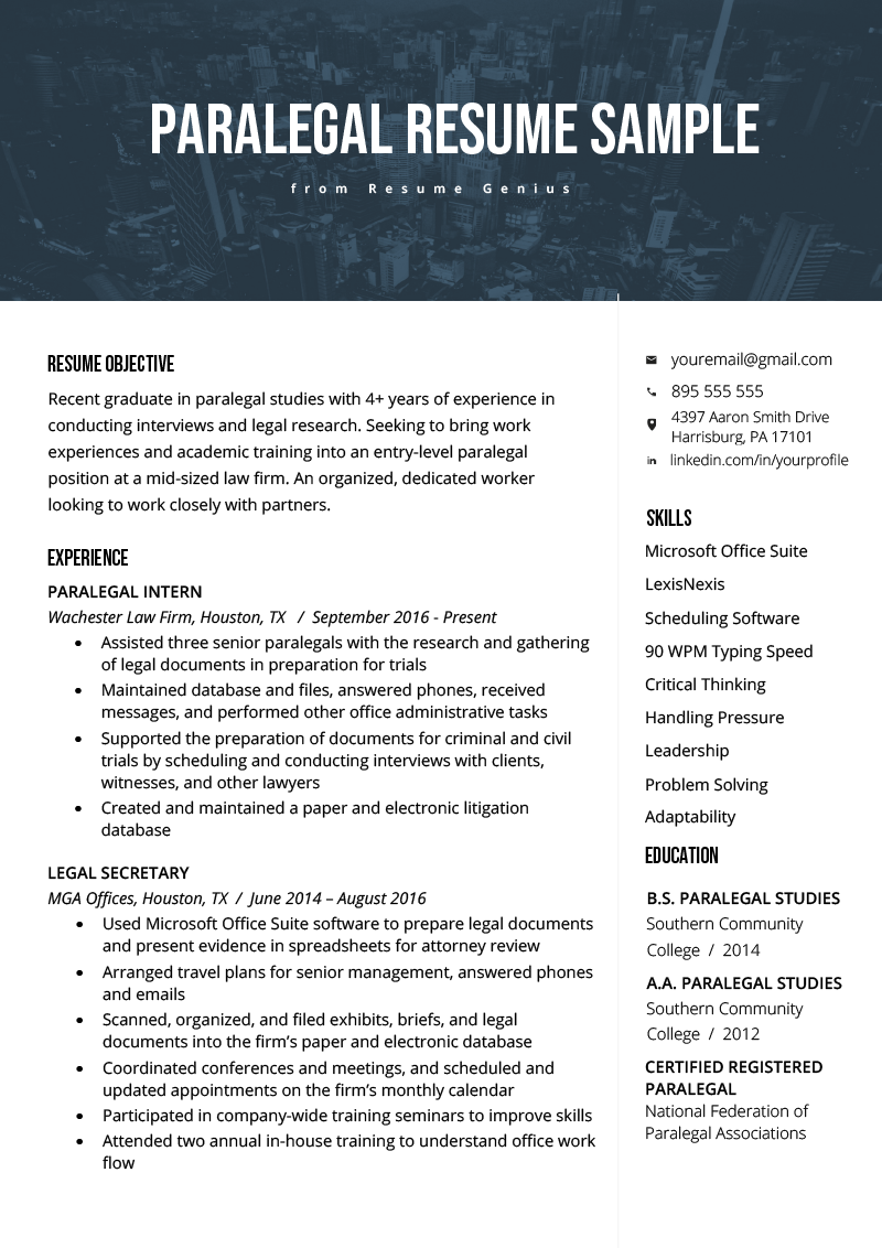 Paralegal Resume Sample  Writing Guide  Resume Genius