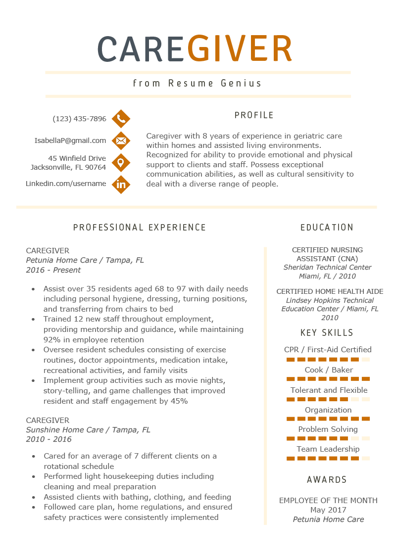 Sample Key Skills For Resume Caregiver Resume Example Writing Guide Resume Genius