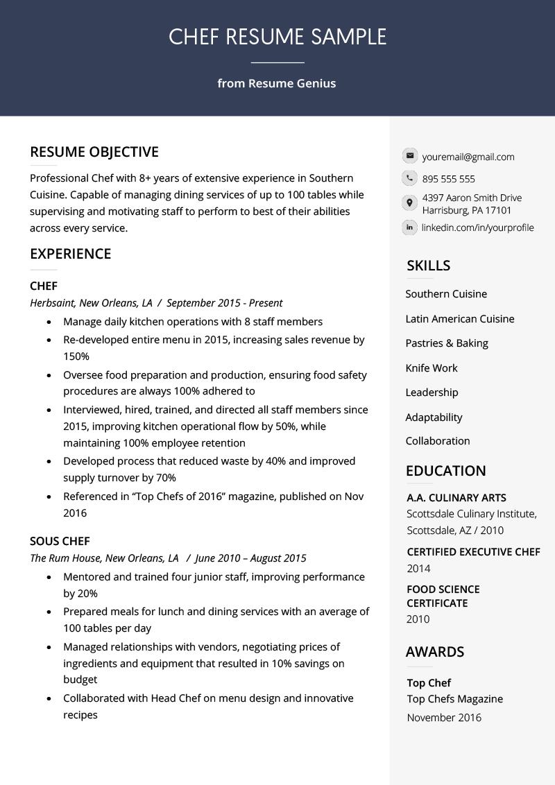 Chef Resume Sample & Writing Guide Resume Genius