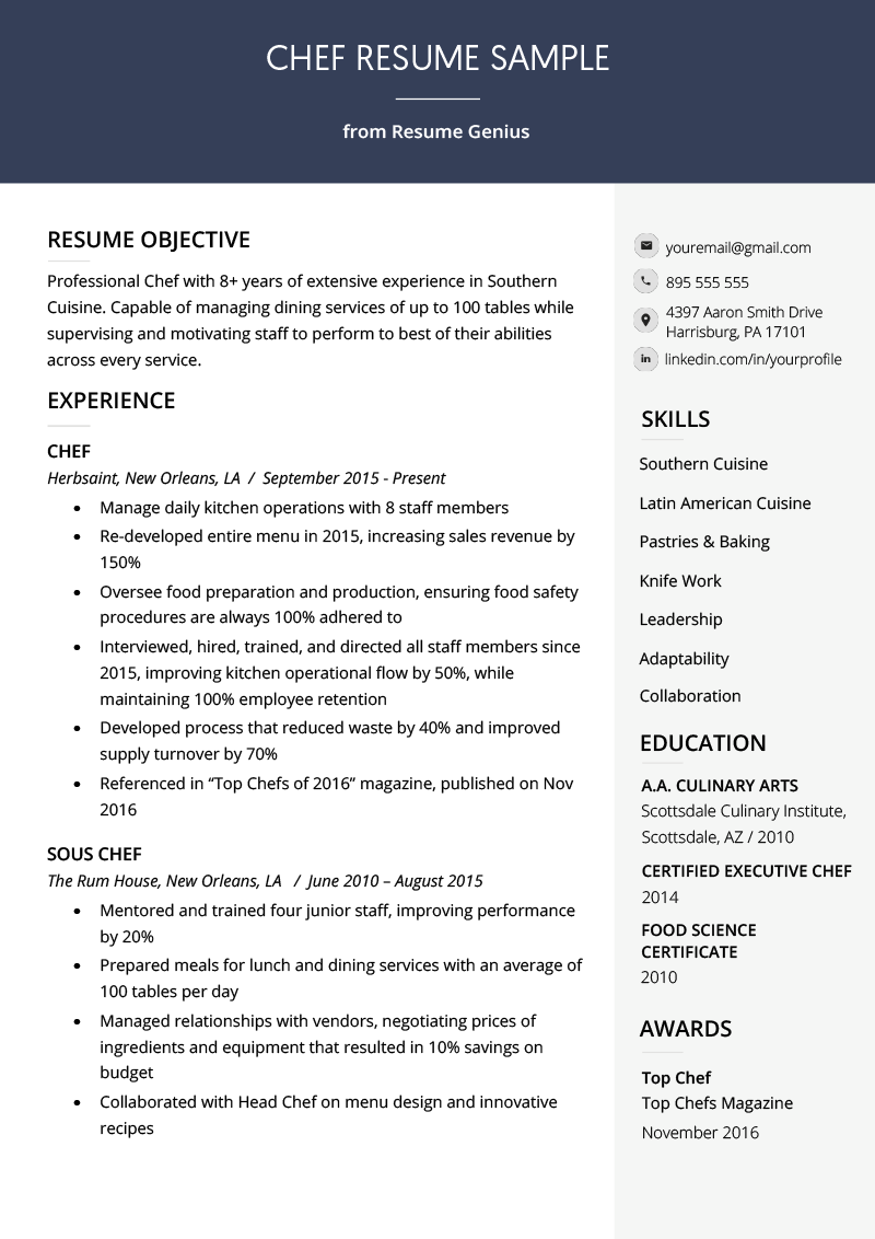 Chef Resume Skills Sample Chef Resume Sample Writing Guide Resume Genius