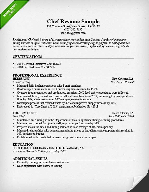 example chef resume