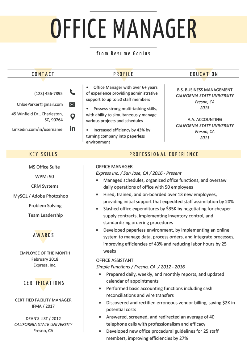 Business Management Resume Examples Office Manager Resume Sample Tips Resume Genius