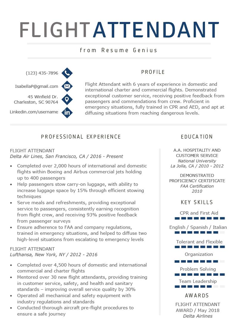 Flight Attendant Resume Sample & Writing Guide Resume Genius