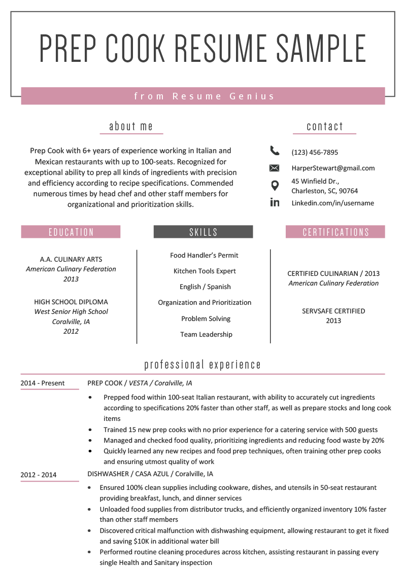 Prep Cook Resume Example  Writing Tips  Resume Genius