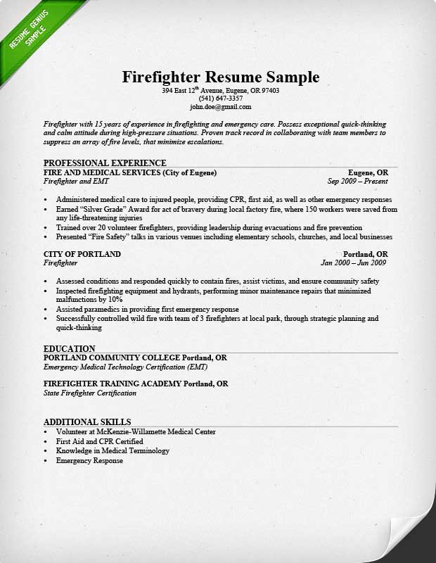 Firefighter Resume Sample & Writing Guide Resume Genius