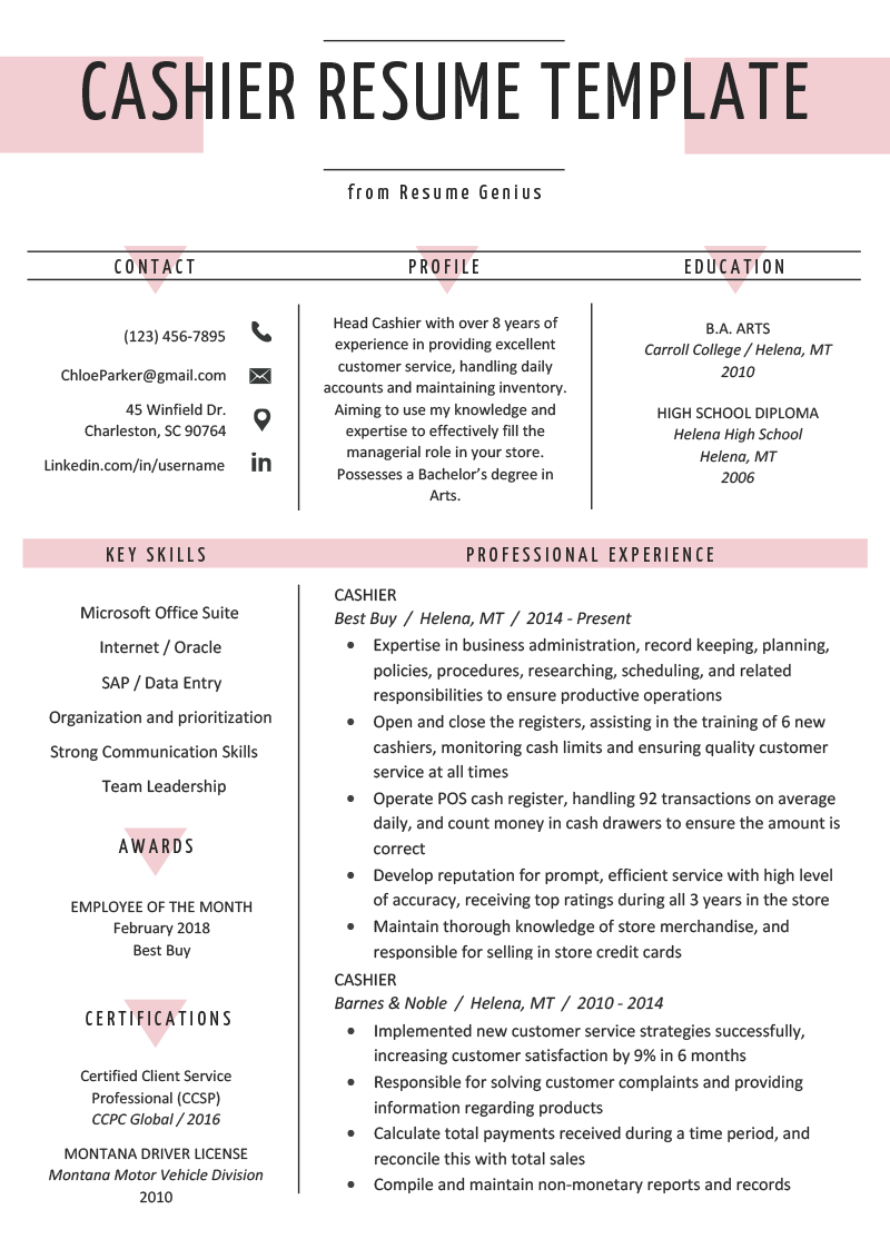 store clerk resume templates