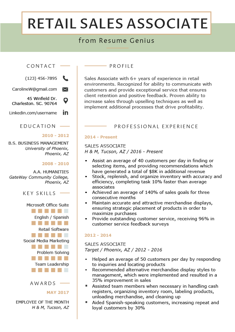 How To Write A Resume For Retail Retail Sales Associate Resume Sample Writing Tips Resume Genius