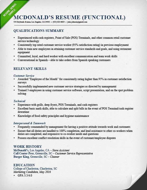 Functional Resume Samples & Writing Guide RG