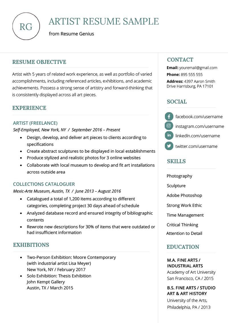 Standard Resume Format Template Artist Resume Sample Writing Guide Resume Genius