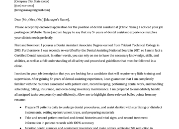 Dental Assistant Cover Letter Example Resume Genius