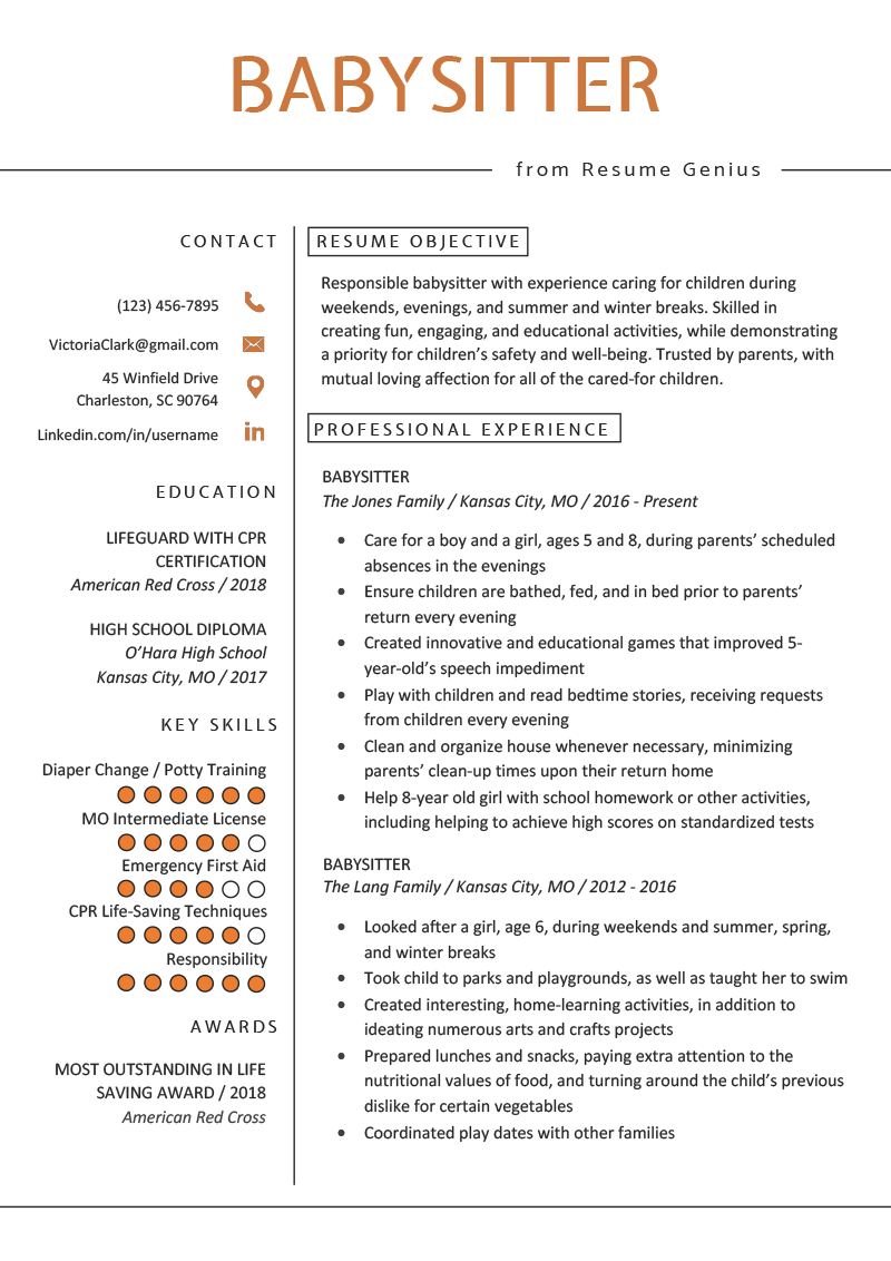 babysitting bio resume sample