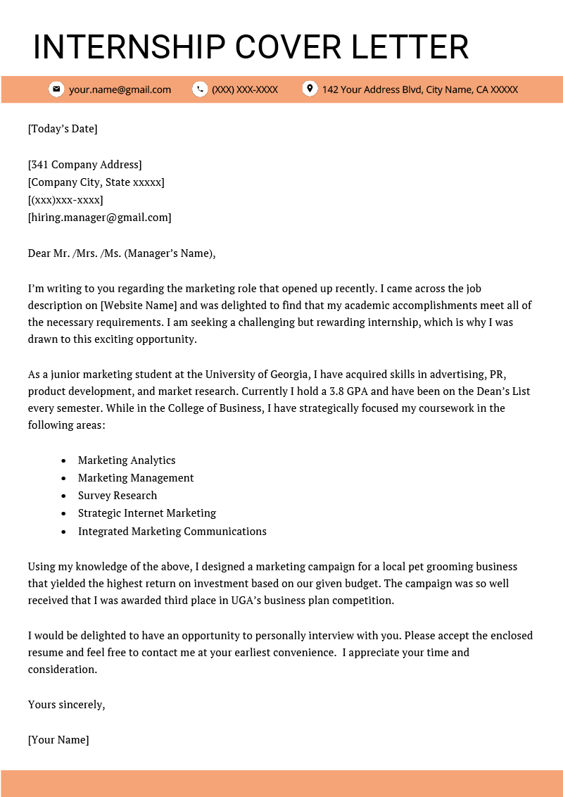 Cover Letter for Internship Example 4 Key Writing Tips  Resume Genius