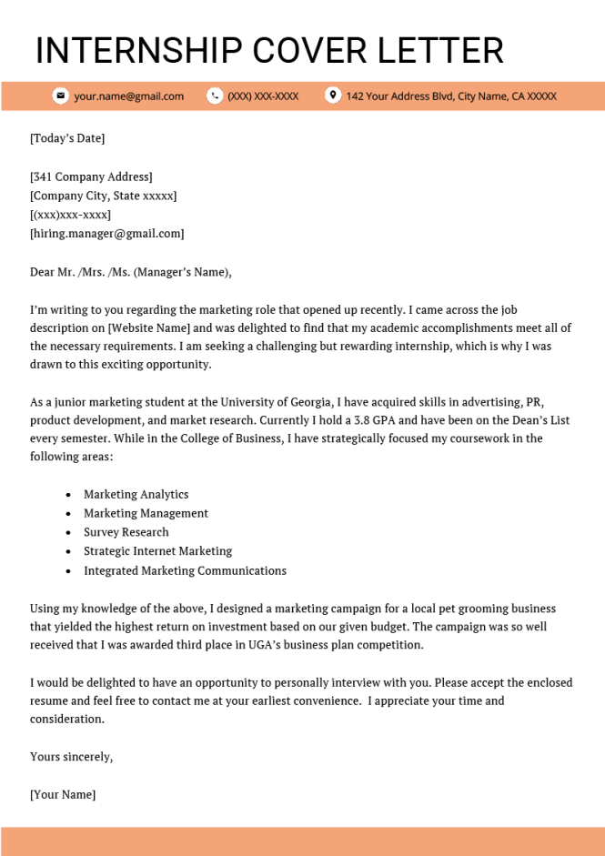 Cover Letter For Internship Example 4