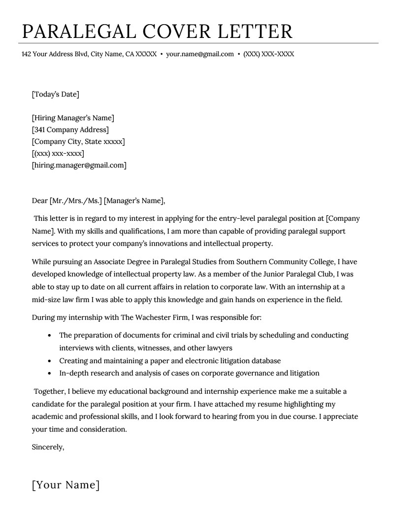 How To Prepare A Cover Letter For A Resume Paralegal Cover Letter Example Resume Genius