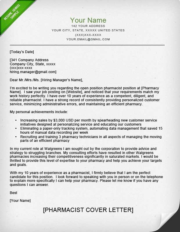 Pharmacist Cover Letter Sample  Resume Genius