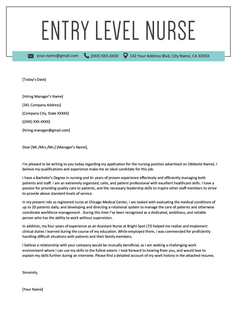Cover Letter Nursing Resume
