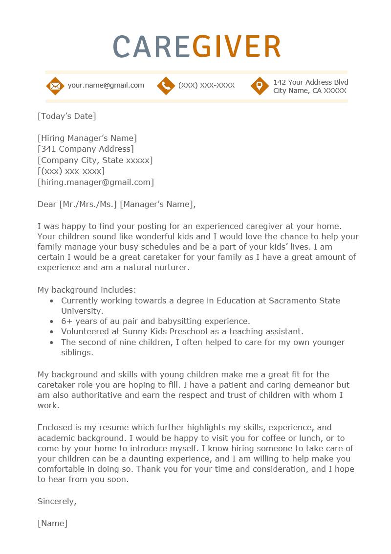 Caregiver Cover Letter Sample  Resume Genius