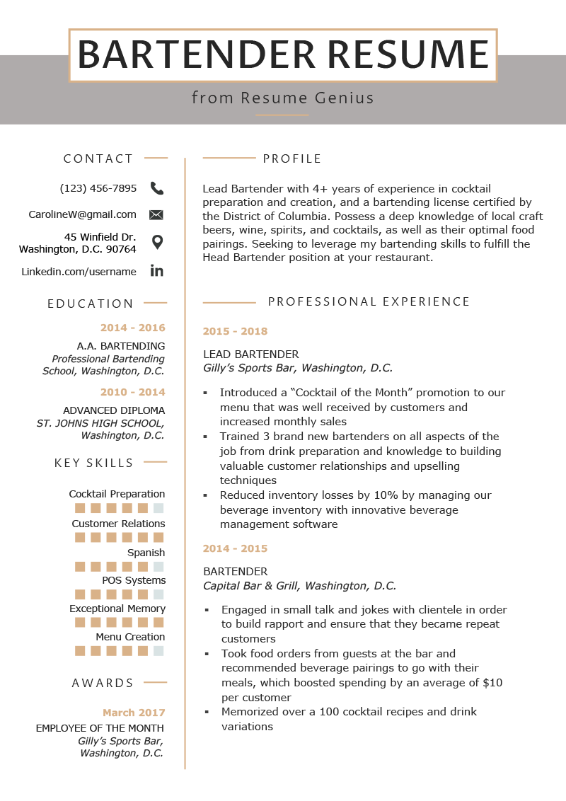 Bartending Resume Examples Bartender Resume Example Writing Guide Resume Genius