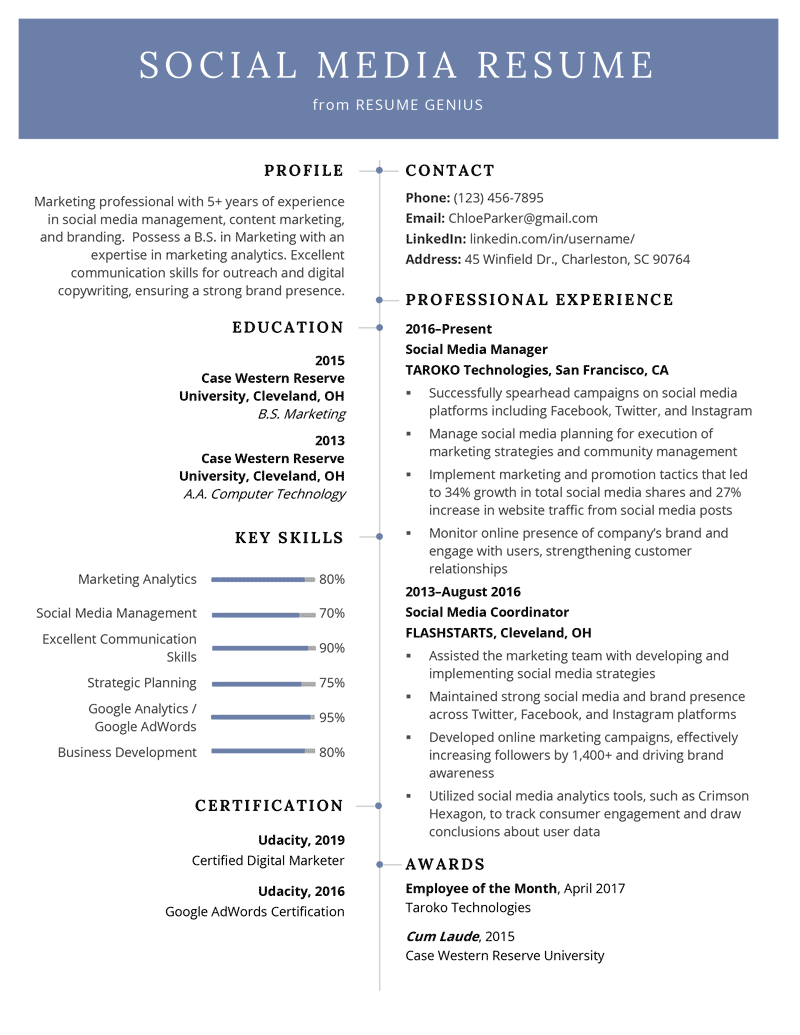 Social Media Resume Example & Writing Tips Resume Genius