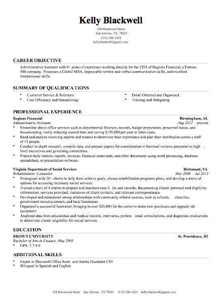 Resume Examples Of Resumes
