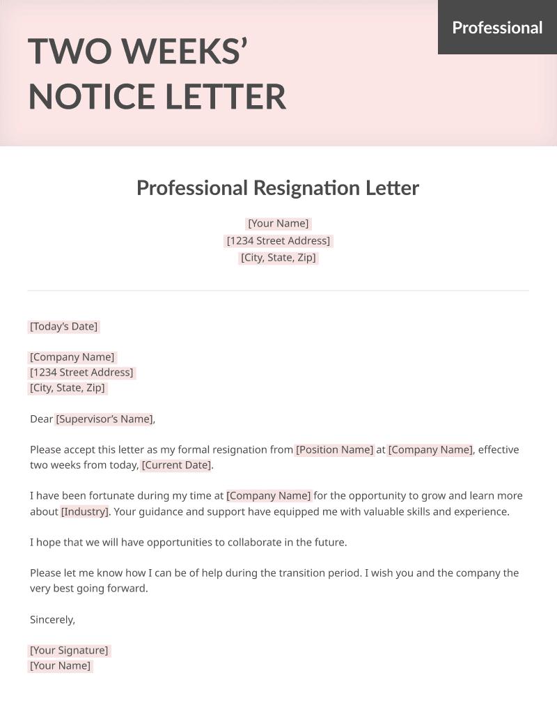 resume genius two weeks notice