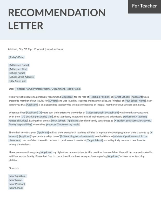 Teacher Recommendation Letter Samples