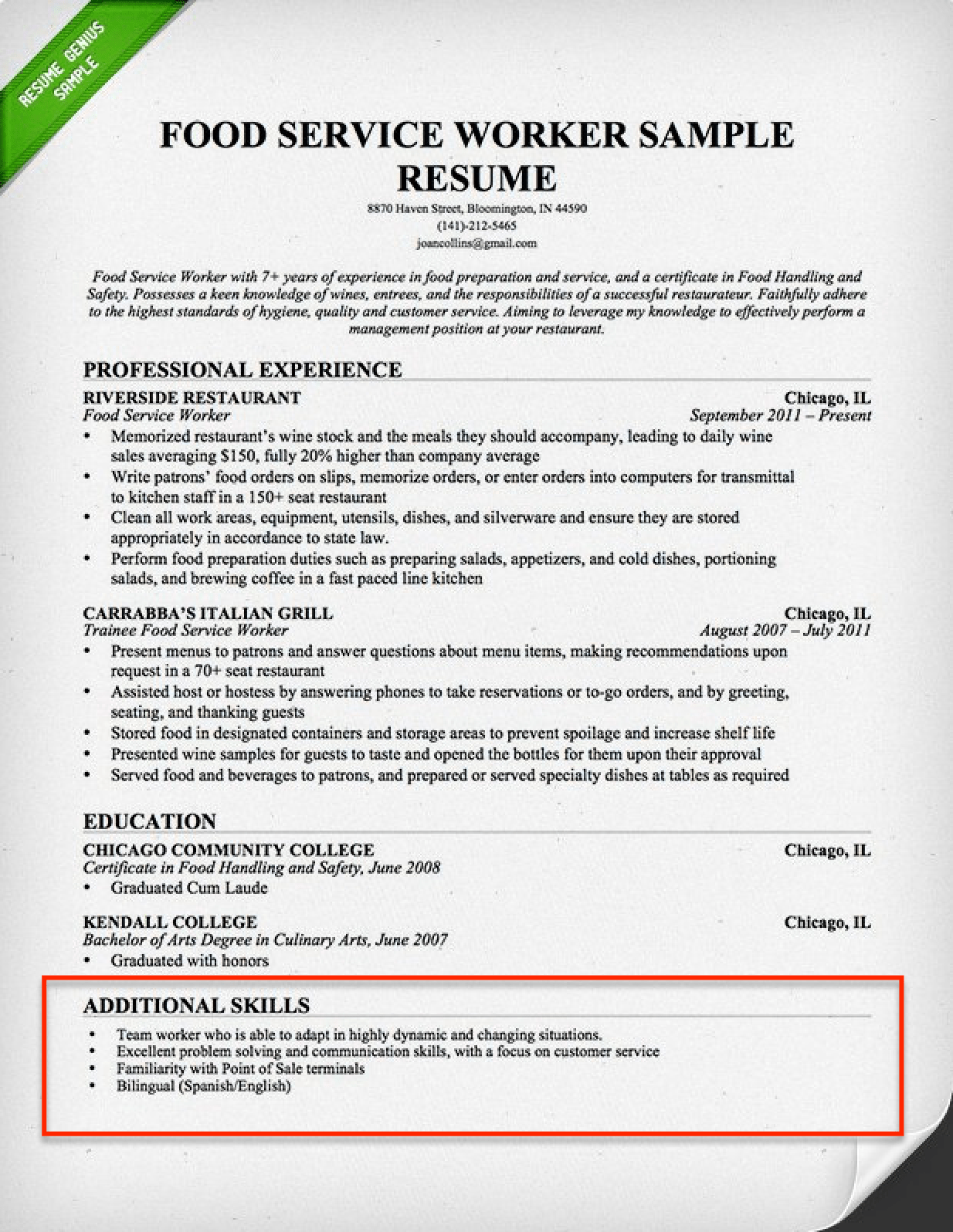 resume examples skills and abilities section