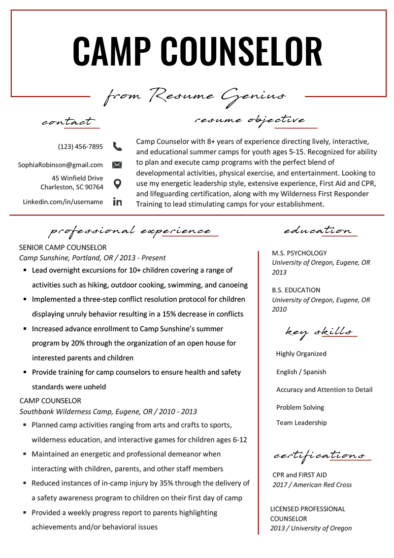 camp counselor resume objective examples