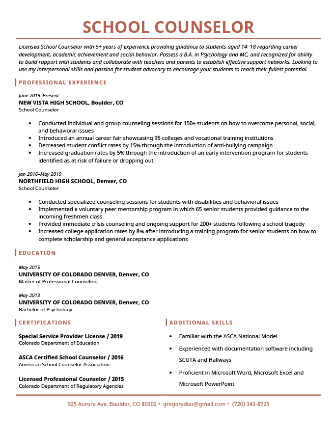 high school guidance counselor resume sample