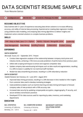 Data Scientist Cover Letter Sample & Tips Resume Genius