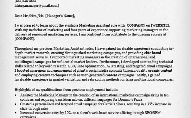 Marketing Assistant Cover Letter – MieGames
