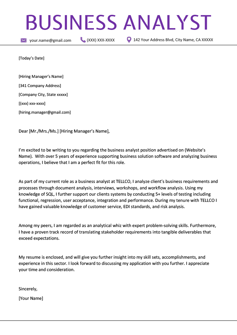 Writing Cover Letters Business Analyst Cover Letter Example Writing Tips Resume Genius