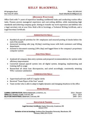 Sample Resume Format Work Experience